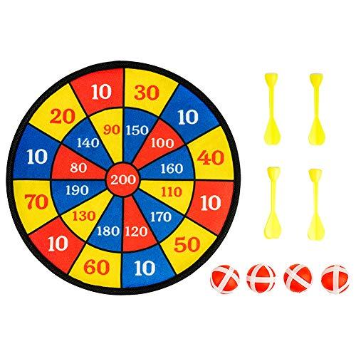 Surplex Hängende Dartscheibe für Kinder für drinnen oder draußen, inklusive 4 Bälle 4 Darts mit Klettbeschichtung für festen Halt Klett Dartscheibe Darts Wurf Spiel für alle Altersgruppen, 30cm