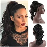 DL Y Short Curly Drawstring Ponytail Extensions 14 Inches Loose Wavy Clip in Drawstring Pony Tail Synthetic Body Wave Ponytail Hairpieces for Women (1B#)