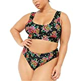 Damen Zweiteilige Bademode Große Größen Badeanzug Bikini Set Push Up Sommer Schneiden Monokini Strandmode Retro Blumen Drucken (L, Multicolor)