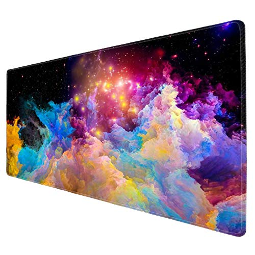 iNeworld Large Mouse Pad XXL Computer Game Mouse Mat Desk Pad Keyboard Mat Big Mouse Pad for Laptop Work & Gaming& Office & Home (31.5×11.8×0.15 inch)-Pink Marble (Beautiful Starry Sky)