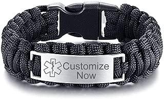 Free Custom Engraving Medical Alert ID Paracord Bracelets Allergy Awareness Bracelet Bangle for Men Outdoors Activities Emergency Life Saver,9 Inches