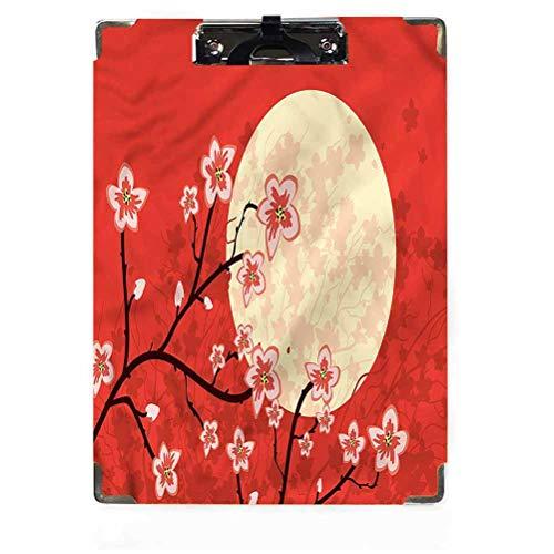 Moon Decor Portapapeles Tamaño carta Perfil bajo Clip Cultura Sakura rama Hardboard Portapapeles para aulas, oficinas, restaurantes, oficinas de doctores