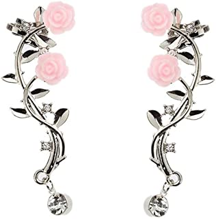 Silver Rose Branch Climber Flower Wrap Cuff Earrings Tiny Crystal Clip On Jewelry for Valentine's Day Gifts