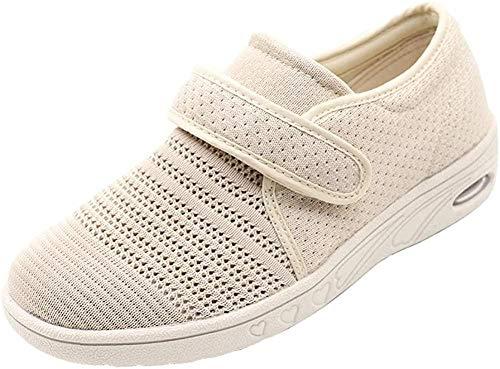 ZR1LZ Sandalias Ajustables,Mujer/Entrenador/Fascitis Plantar/Edema/ventilación reticulada/Ejercicio/ortopedia/pie diabético Anciano/Edema/Zapatos Anchos-Khaki_43