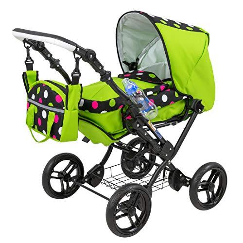 Zekiwa Kombipuppenwagen Zeki Complete, hochmodischer Puppenwagen mit Tragtasche und Fußsackfunktion, Anhängetasche und Regenhülle und Trinkflasche inklusive, Dessin: Punkte Grün