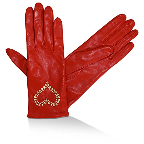 Moschino Handschuhe Leder mit Nieten-Herz, Ferrarirot, size: 7,5