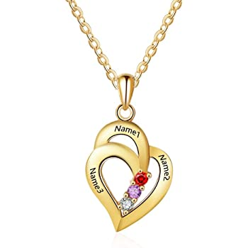 IINFINE Free Engraving Name Mothers Necklaces Personalized Simulate Birthstone Mother Daughter Mothers Day Necklace for Mom