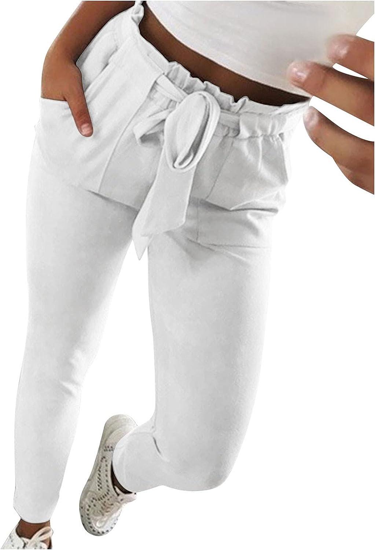 LIXIAO Women's Pants Casual High Waist Bandage Elastic Waist Pants with Pockets Slim Fit Straight-Leg Pants