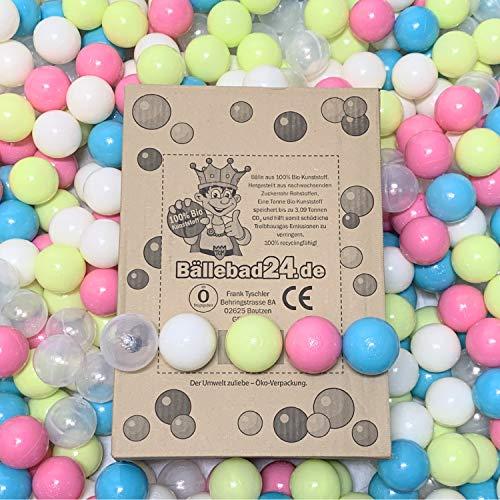 100 Bio - Kunststoff Bällebad Bälle aus nachwachsenden Zuckerrohr - Rohstoffen, 6cm Ø, Kindergarten und Gewerbequalität (Bio Kristall-Weiß-Hellgrün-Rosa-Hellblau/BB03)