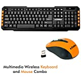 ProDot TLC-107+145 2.4Ghz Multimedia Wireless Keyboard and Mouse Combo Compact and Portable for PC, Laptop, Desktop, Android TV and Smart TV (Peel Orange)
