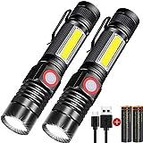 Taschenlampe LED Aufladbar, Magnet USB Taschenlampen (Mit 2 Pack 18650 Akku), Banral COB...