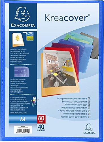 Exacompta 5740E Porte vues Kréa cover opaque couverture personalisable en prolypropylene semi rigide pochettes interieures lisse haute transparence 40 pochettes et 80 vues Coloris aléatoires