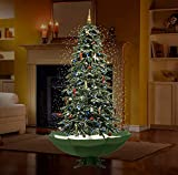 "Fraser Hill Farm 67"" Musical Snow Function Christmas Decoration, Green Tree with Green Umbrella Base"