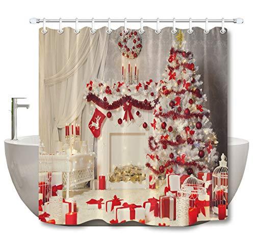 NNAYD1996 Weiße Weihnachtsbaumkranz Kamin Socke Wasserdichter und schimmelresistenter Digitaldruck