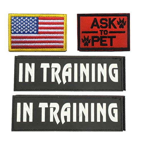 GrayCell Dog Pack Hound Travel Hiking Backpack Saddlebags/Morale Service Dog Patches for Pet Tactical K9 Harness Vest (4)