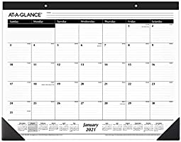 "Monthly Desk Pad 2021 Year (21-3/4"" x 17"") and Undated 2 Pack Notepad Refills, Size 3-3/4"" x 6-3/4"" (24 Pages Each)"