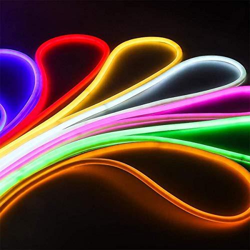 LED Strip Light 2M LED Flexible Strip Light SMD 2835 LED Neon Flex Tube 120led IP65 Waterproof Rope String Lamp, Multi Color Select for Home DIY Holiday Festival Decoration EU Power Plug