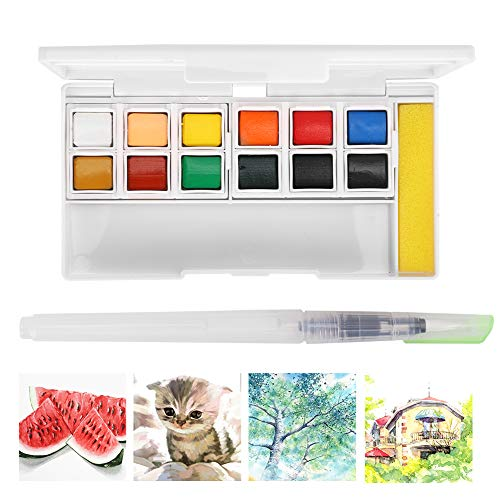 Set de 12 colores de pintura de acuarela con bolígrafo de pincel...