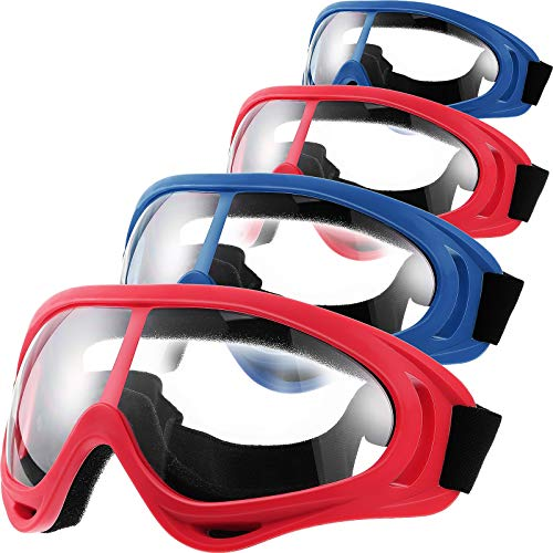 Frienda 4 Pairs Protective Goggles Safety Glasses Eyewear for Teens Game Battle Hiking and Sand Prevention (Blue, Red)