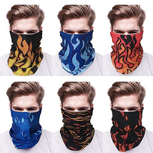 Jurxy 6 Stück Draussen Magischer Schal Elastischer Nahtloser Bandana-Schal UV-Beständigkeit Stirnband Halstücher für Yoga, Wandern, Reiten, Motorradfahren - Flamme