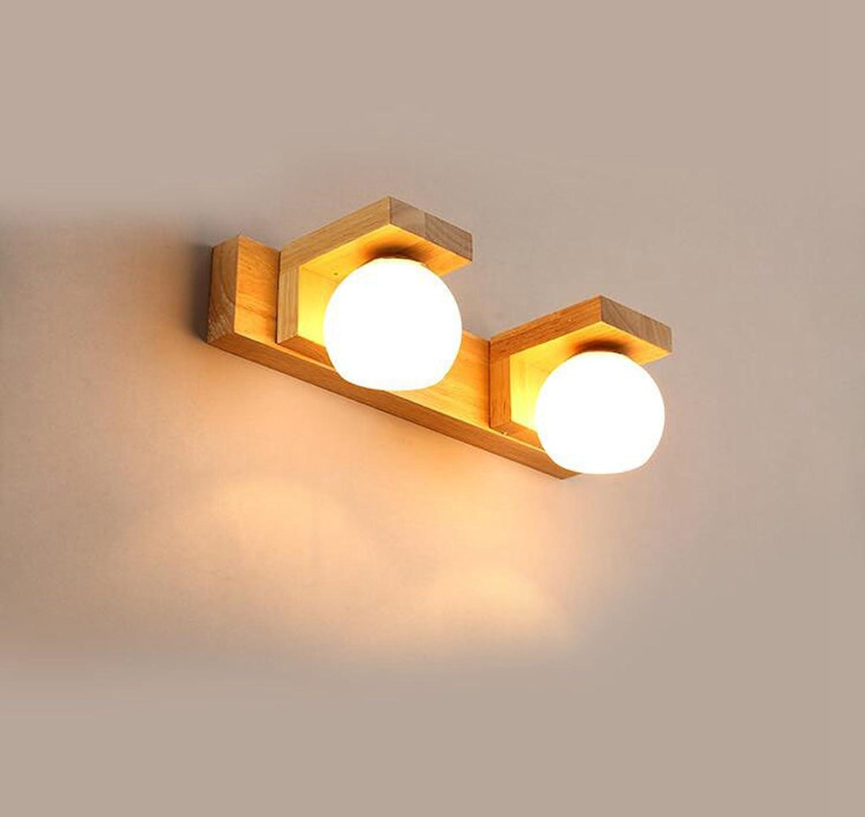 Aoligei LED Spiegel Frontleuchte Bad Bad Schlafzimmer Dressing Lampe kreative Massivholz Spiegel Schrank Licht Weiss 10W Warmes Licht 34  11  9cm
