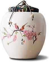 Urns Urns for Ashes Adult Stoneware Sealed Cork Ceramic Painted Jade Shadow Lotus Ashes Pot Handmade Ceramics Keepsake 10....