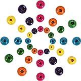 Outus 1000 Piezas Cuentas Redondas de Madera Cuentas de Madera de Colores Surtidos para DIY Fabricación de Joyas, 8 mm, 10 mm y 12 mm