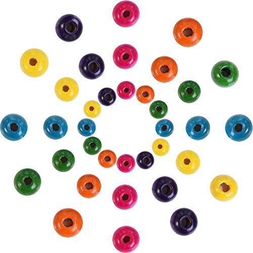 Outus 1000 Pezzi Perline di Legno Assortiti Colori Rotondi Perline di Legno per Gioielli Fai da Te, 8 mm, 10 mm e 12 mm