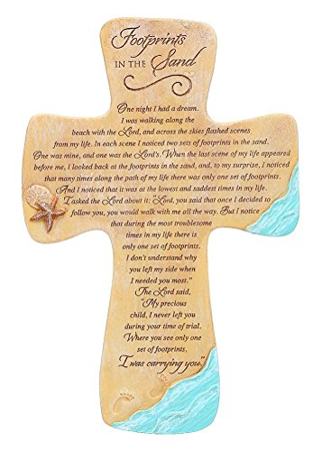 Abbey Press Footprints in The Sand Wall Cross 7 Inches L X 10 1/2 Inches H X 1/8 Inch W
