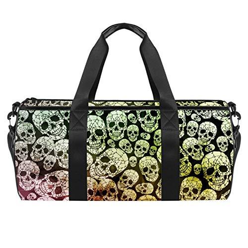 LAZEN Hombro Handy Sports Gym Bags Travel Duffle Totes Bag para Hombres Mujeres Cráneo gótico abstracto