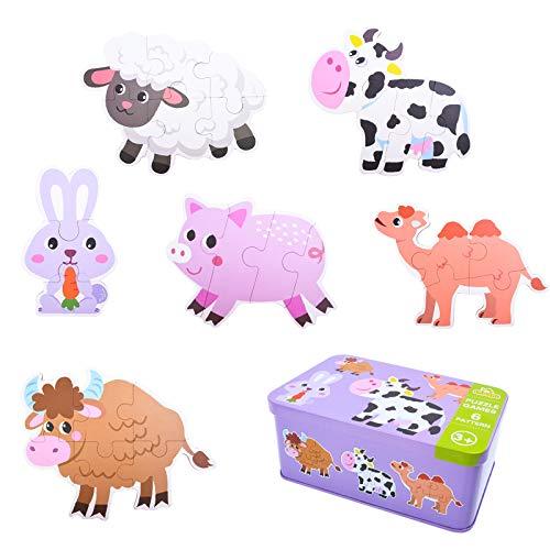 EKKONG Juguetes de Madera ,Juguetes para Bebes 1 Año 2 3 4 5 Años ,Animales Rompecabezas de Madera, Montessori Educativos Juguetes para Niños