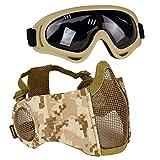 AOUTACC Airsoft - Juego de máscaras de malla de media cara con protección para los...