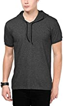Katso Men's Cotton Hooded Half T-Shirt