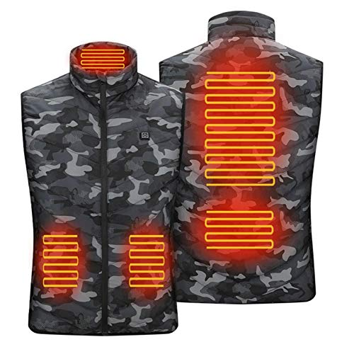 knowledgi Chaleco de calefacción eléctrico USB para hombre y mujer, ajustable, lavable, cálido, chaleco de invierno para caza, exterior y camping