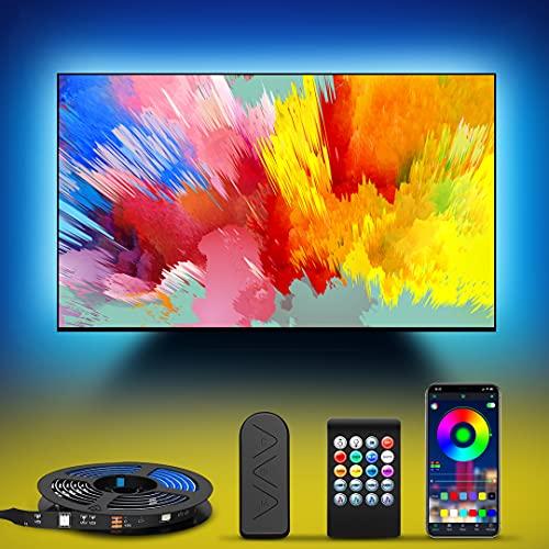 LED Strip 4.5M, Hedorance LED TV Hintergrundbeleuchtung für 55-75 Zoll Fernseher und PC USB LED Beleuchtung mit App-Steuerung und Fernbedienung Music Sync RGB-Farbwechsel, USB-Betrieb für TV Küche