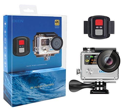 EKEN H8R, Ultra HD 4K Waterproof Action Camera (Sports DV Camcorder with 2.4G Remote and 15 Mountings Kit), one of The Most Cost-Effective Sports Cameras (Silver)