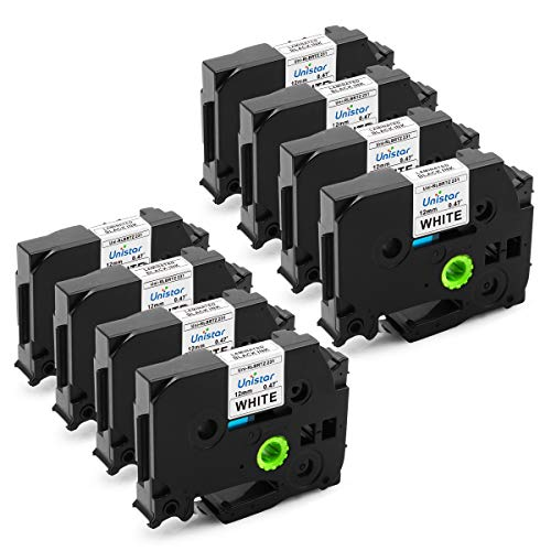 Unistar Compatible Label Tape Replacement for 12mm 0.47 Inch White Label Tape, TZ231 TZe231 TZ-231 for Label Maker PT-D210 PT-D400 PT-D600 PT-1280, 26.2 Feet, 8 Pack