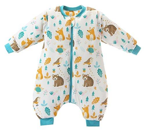 Jaimelavie Unisex Baby Winter Schlafsack mit Beinen 3.5 Tog Warm Kleine Kinder Schlafsaecke aus Baumwolle, Pyjamas abnehmbar Langarm, Tiere Welt, L/Koerpergroesse 100-115cm