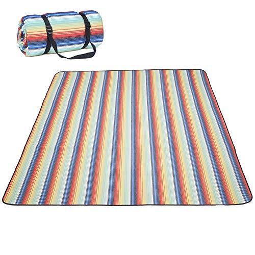 TIZJ Extra Große Picknick-Decke Im Freien, Dreilagige wasserdichte Faltbare Picknick-Decke Im Freien Picknick-Matte Für Den Strand, Park, Camping Auf Gras (Color : Rainbow, Size : 1.5x2m(59x78.7in))