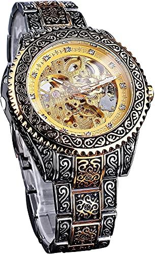 QHG Reloj de Pulsera automática mecánico Impermeable, Relojes de hendidores de Lujo únicos de Esqueleto de Lujo de Acero Inoxidable de Oro