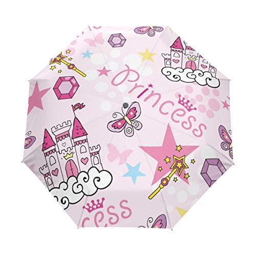 Paraguas de viaje compacto, diseño de castillo de princesa, color rosa, para exteriores, lluvia, sol, coche, plegable, resistente al viento, toldo reforzado, protección UV, mango ergonómico, apertura y cierre automático