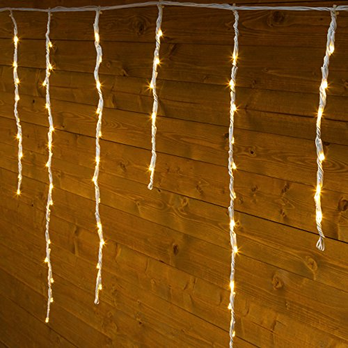 XMASKING Stalattite Snow Light 3 x 0,8 m, 192 LED Bianco Caldo, Cavo Bianco in Gomma, con Controller, 4 velocità, Tende Luminose, luci Natalizie