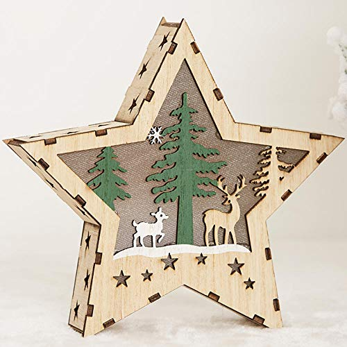 Adornos decorativos de estilo nórdico, luces luminosas de madera para árboles de Navidad, adornos de estrellas de cinco puntas, decoraciones navideñas, regalos-Pentagrama de ciervo resplandeciente