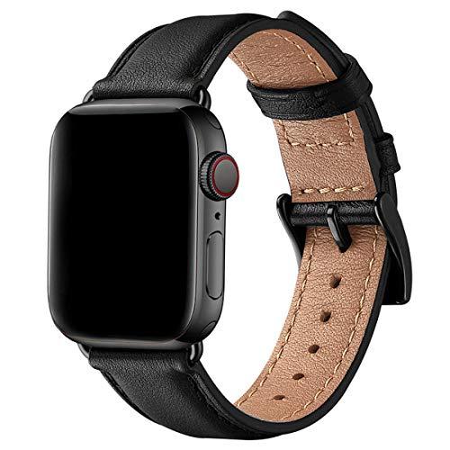 SUNFWR Leder Armband für Apple Watch Armband 44mm 40mm 38mm 42mm, Herren Damen Ersatz Original Lederband für iWatch Serie 6 5 4 3 2 1(42mm 44mm,Schwarz/Schwarz)