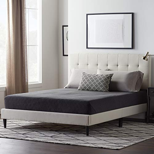 LUCID LUQQPE01UB Upholstered Bed withSquare TuftedHeadboard-Linen Inspired Fabric –Sturdy Wood Build –No Box Spring Required Platform, Queen, Pearl