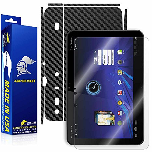 ArmorSuit MilitaryShield Black Carbon Fiber Skin Wrap Film + HD Clear Screen Protector for Motorola XOOM - Anti-Bubble Film
