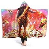 Manta de forro polar con capucha de Inaayayi, ideal para usar en el espacio, con diseño de jirafa, unicornio, pizza, taco, supersuave, manta para cama, sofá, ligera, para viajes, camping, para niños y adultos, negro, 80'x60'