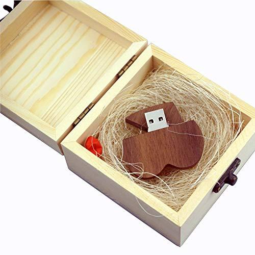 LUCKCRAZY - Chiavetta USB per anniversario di matrimonio, 16 GB, a forma di cuore, in legno, con confezione regalo