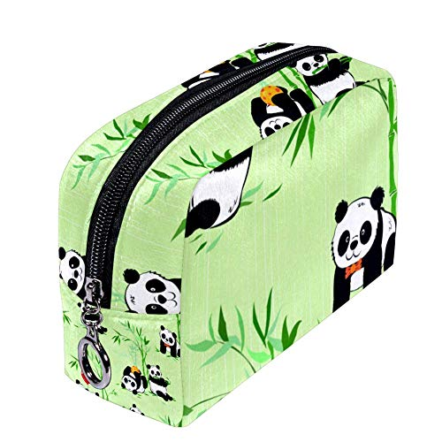 Shiiny Little Pandas et plantes de bambou Sac à cosmétiques pour femme Petit sac de maquillage Sac de voyage Sac de toilette étanche multifonction portable