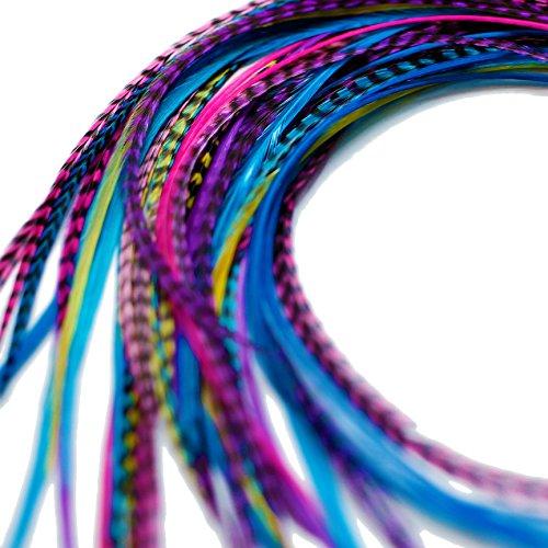 Lot de 20 extensions de cheveux en plumes véritables avec anneaux et boucle 28-33 cm
